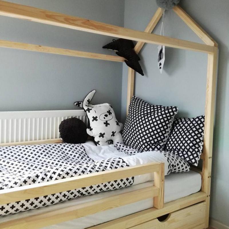 łóżko Domek Scandi Z Poziomą Barierką Scandi Room